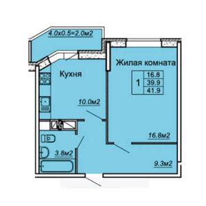 квартира 41,9 м2 в жк любимый дом