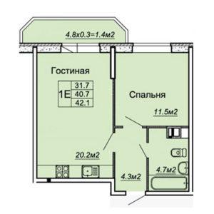 квартира 42,1 м2 в жк любимый дом