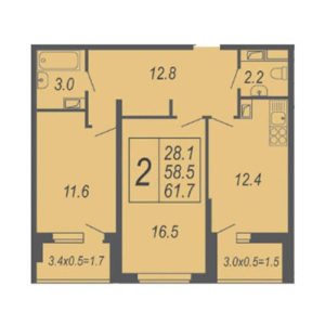 2-комн квартира 61,7 м2 в жк дружный