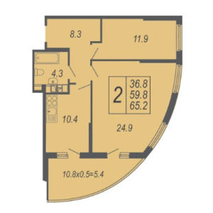2-комн квартира 65,2 м2 в жк дружный