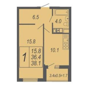 1-комнатная 38,1м2 в жк дружный