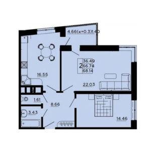 планировка 2 комнатной галактика